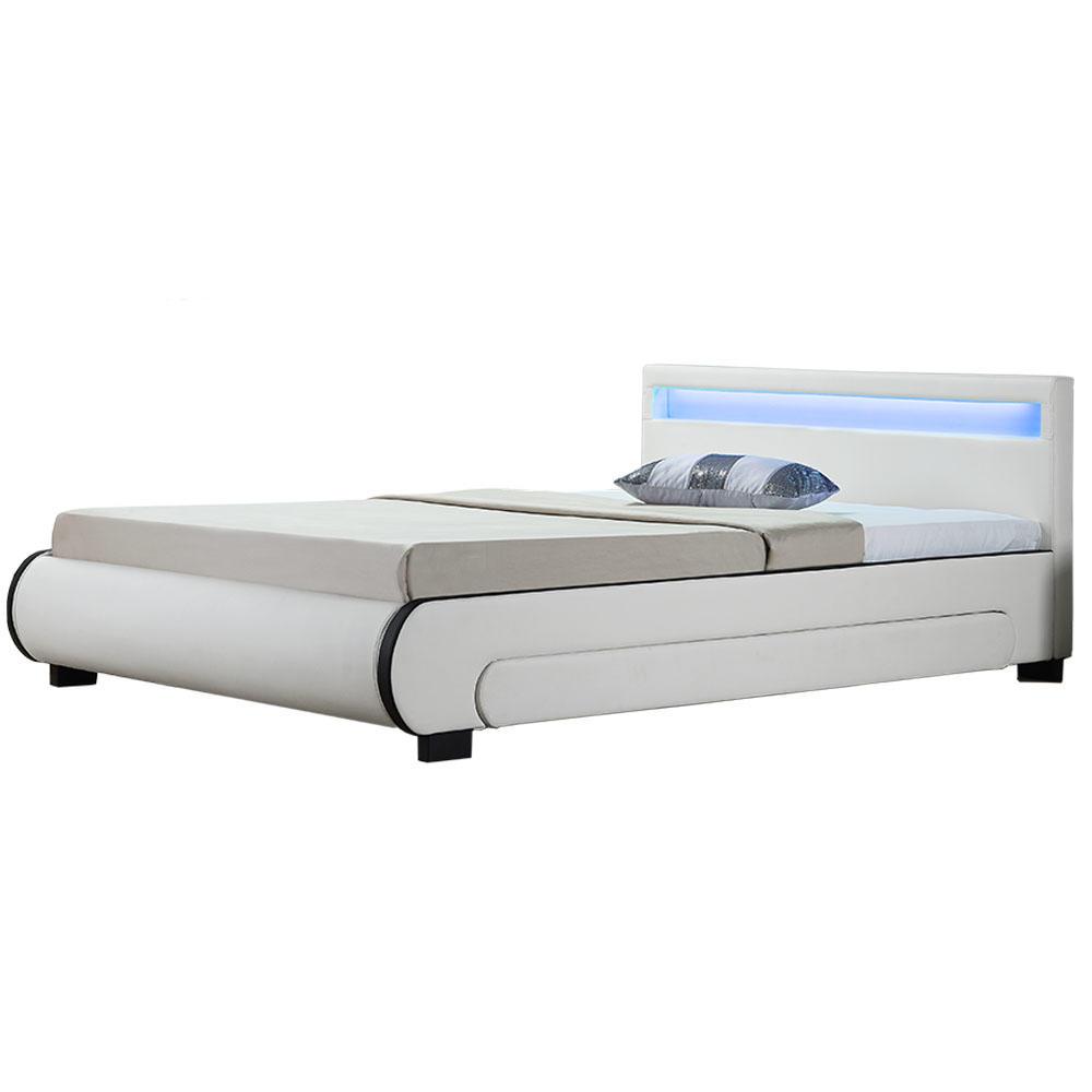 """Eshopist Čalouněná postel,, Bilbao """"s úložným prostorem 180 x 200 cm - bílá"""