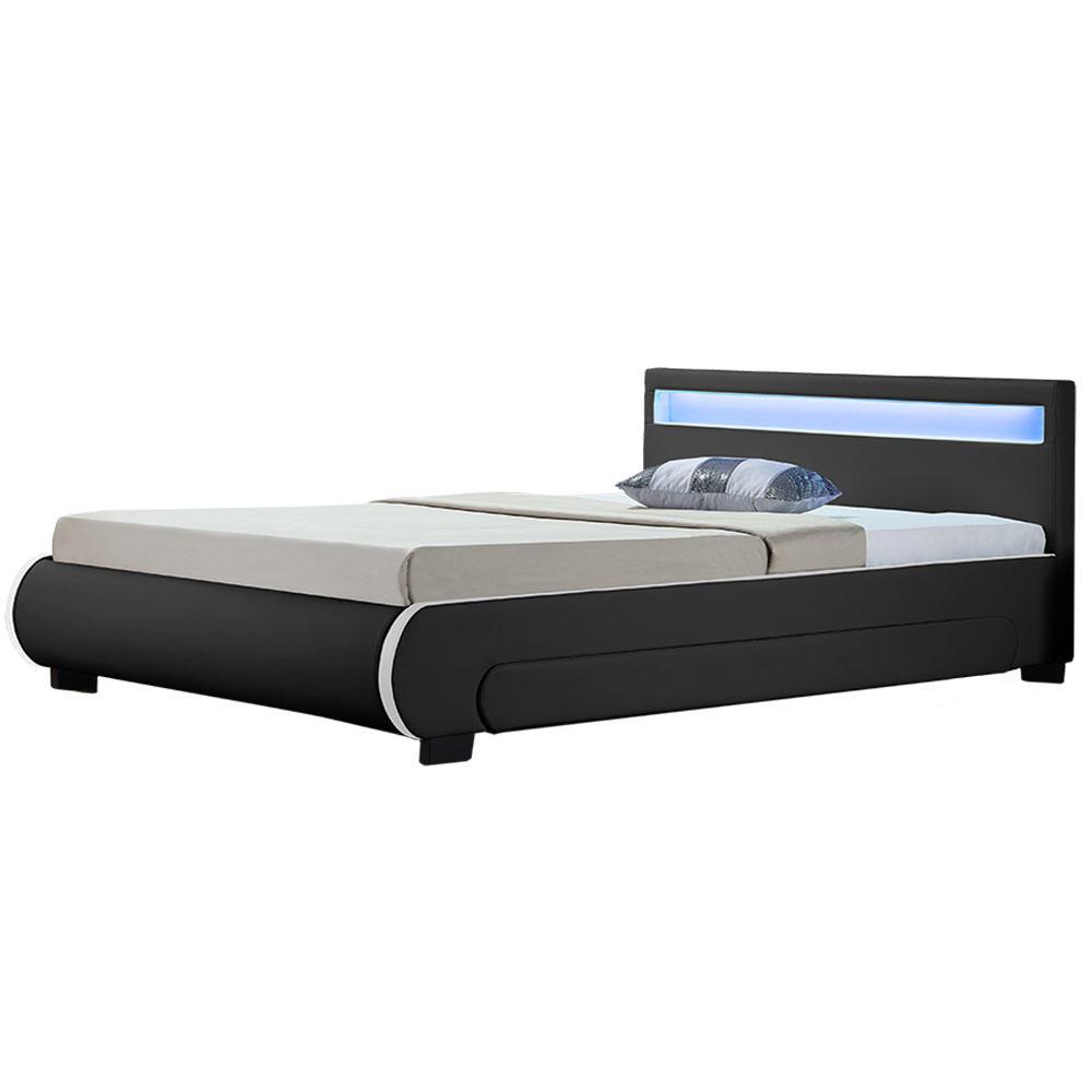 """Eshopist Čalouněná postel,, Bilbao """"s úložným prostorem 180 x 200 cm - černá"""
