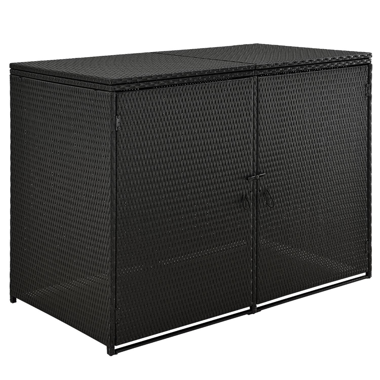 Eshopist Box Mol 1, 2m na odpadní nádobu, Černá, z Polyratanu ze 2 dveří