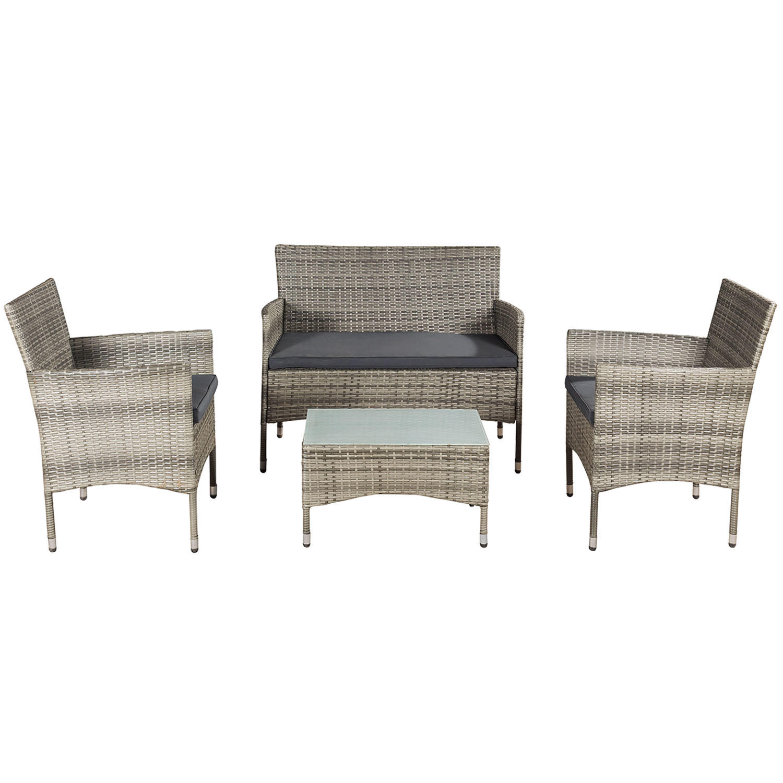 """Eshopist Polyratanový zahradní nábytek """"Fort Myers"""" šedý a tmavošedé sedáky"""