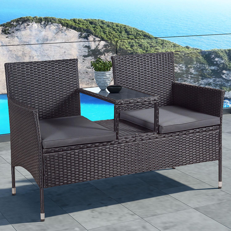 """Eshopist Polyratanový zahradní nábytek """"Monaco"""", černá s tmavě šedými sedáky"""