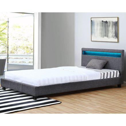 Čalouněná postel Verona 120 x 200 cm s LED osvětlením v tmavošedé barvě
