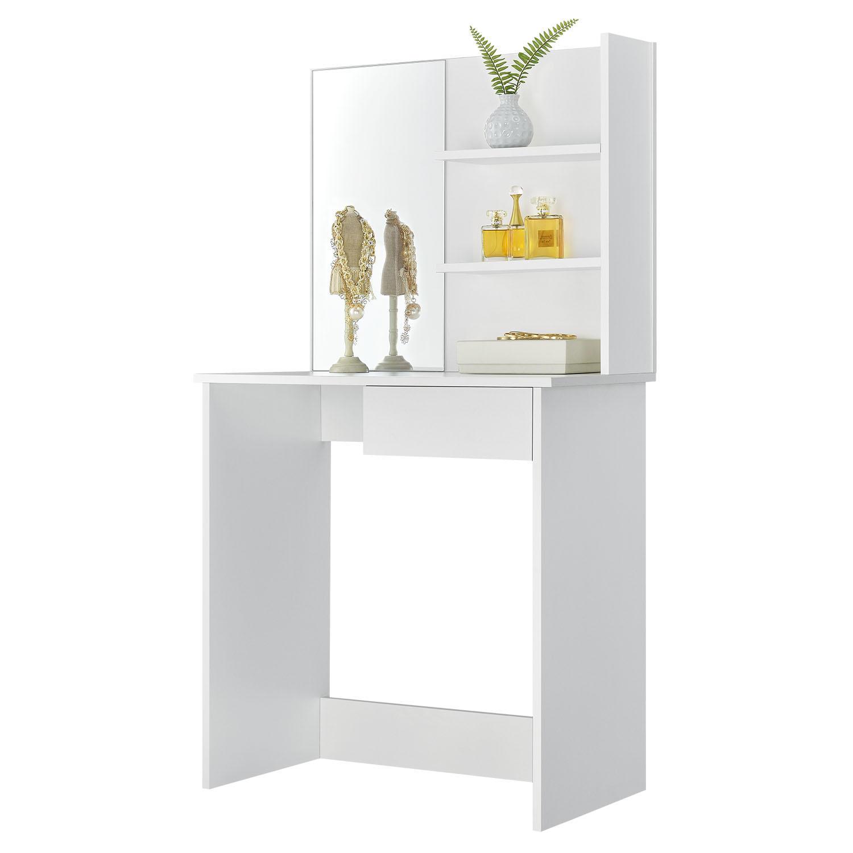"""Eshopist Toaletní stolek """"Jenna"""" bílý se zrcadlem bez židle"""