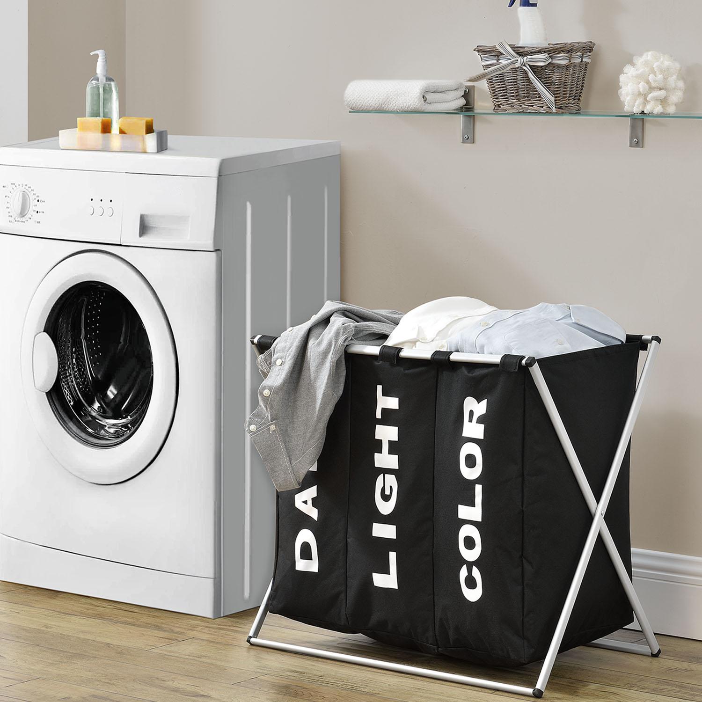 Eshopist Koš na prádlo W3S se 3 přihrádkami z hliníku v černé barvě